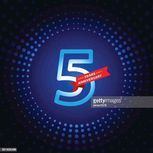 Five years anniversary icon with blue color background