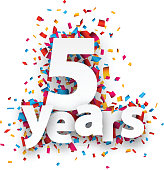 Five years paper confetti sign