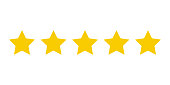 Five yellow stars customer product rating. Icon fow web applications and websites.