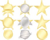 Five-Point Stars, Police Badges, Stickers, Shields Set - Gold, Silver