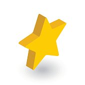 five-pointed star, bookmark isometric flat icon. 3d vector