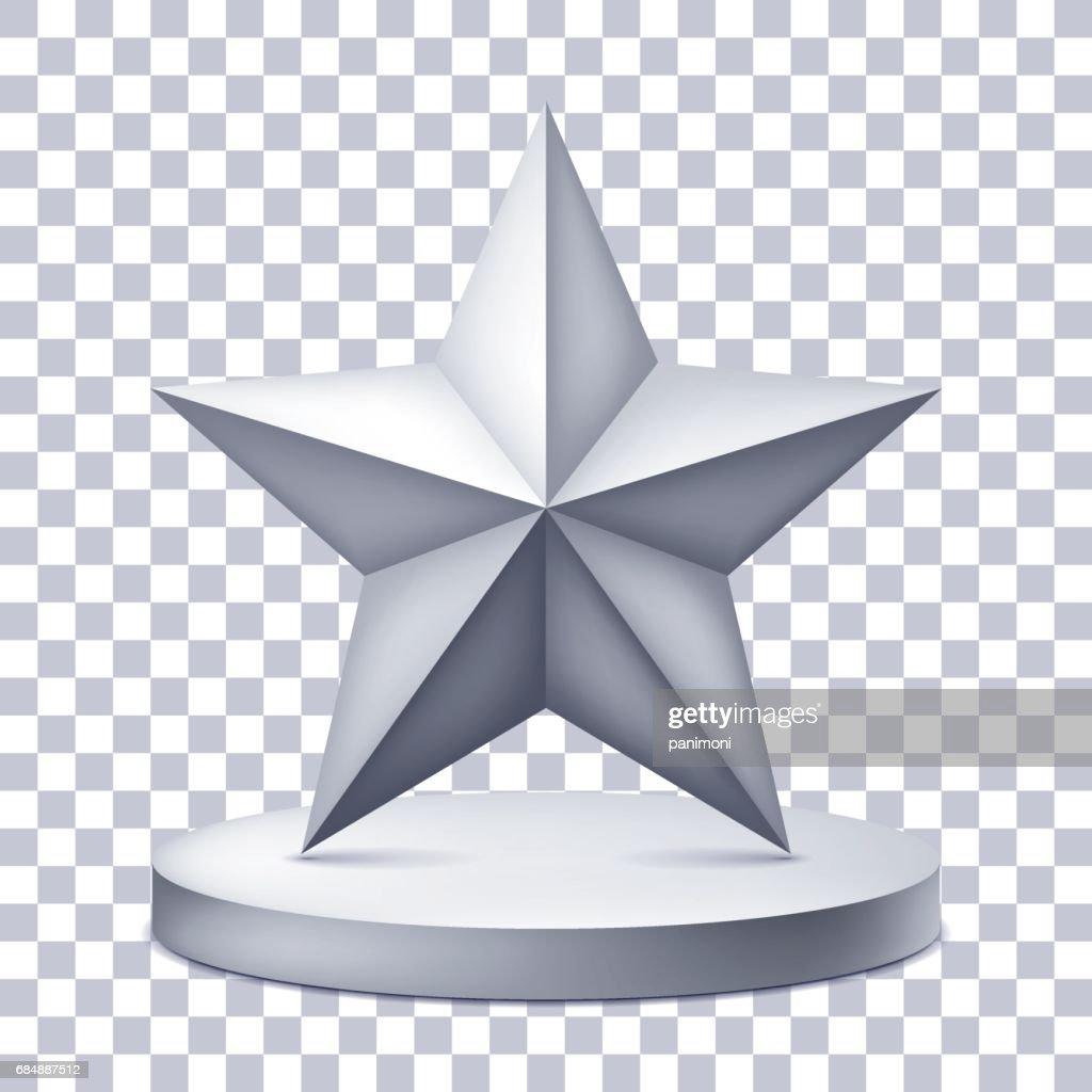 Fünfzackigen Stern Auf Dem Beleuchteten Podest Awardsockelsymbol Auf ...