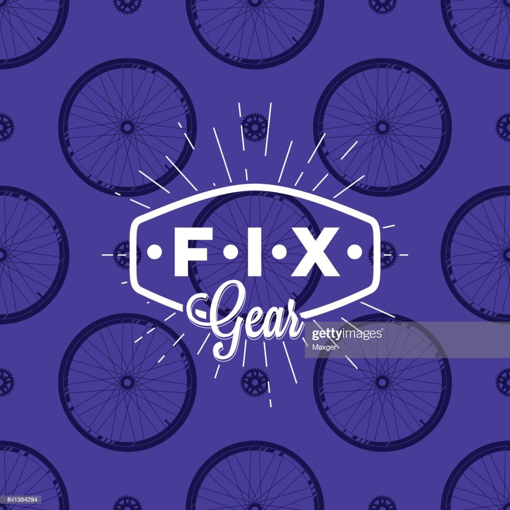 Fix gear icon on seamless pattern with bicycle wheel, vector illustration