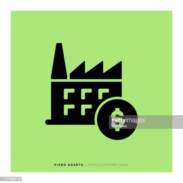 fixed assets monochrome icon - cash flow stock illustrations, clip art, cartoons, & icons