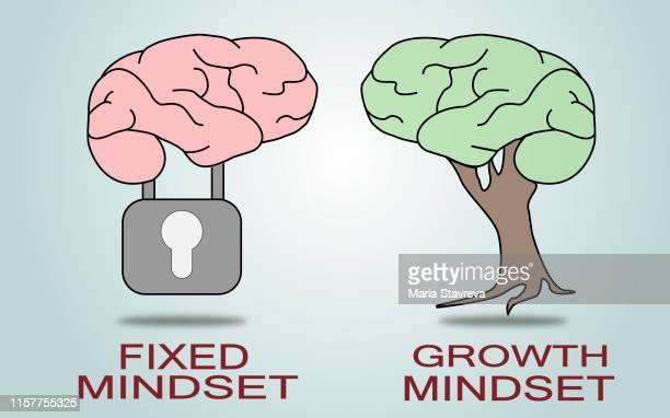 fixed mindset vs growth mindset.vector - attitude stock illustrations