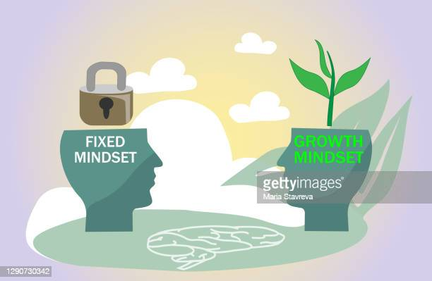 fixed vs growth mindset with open or locked personality. - attitude stock illustrations