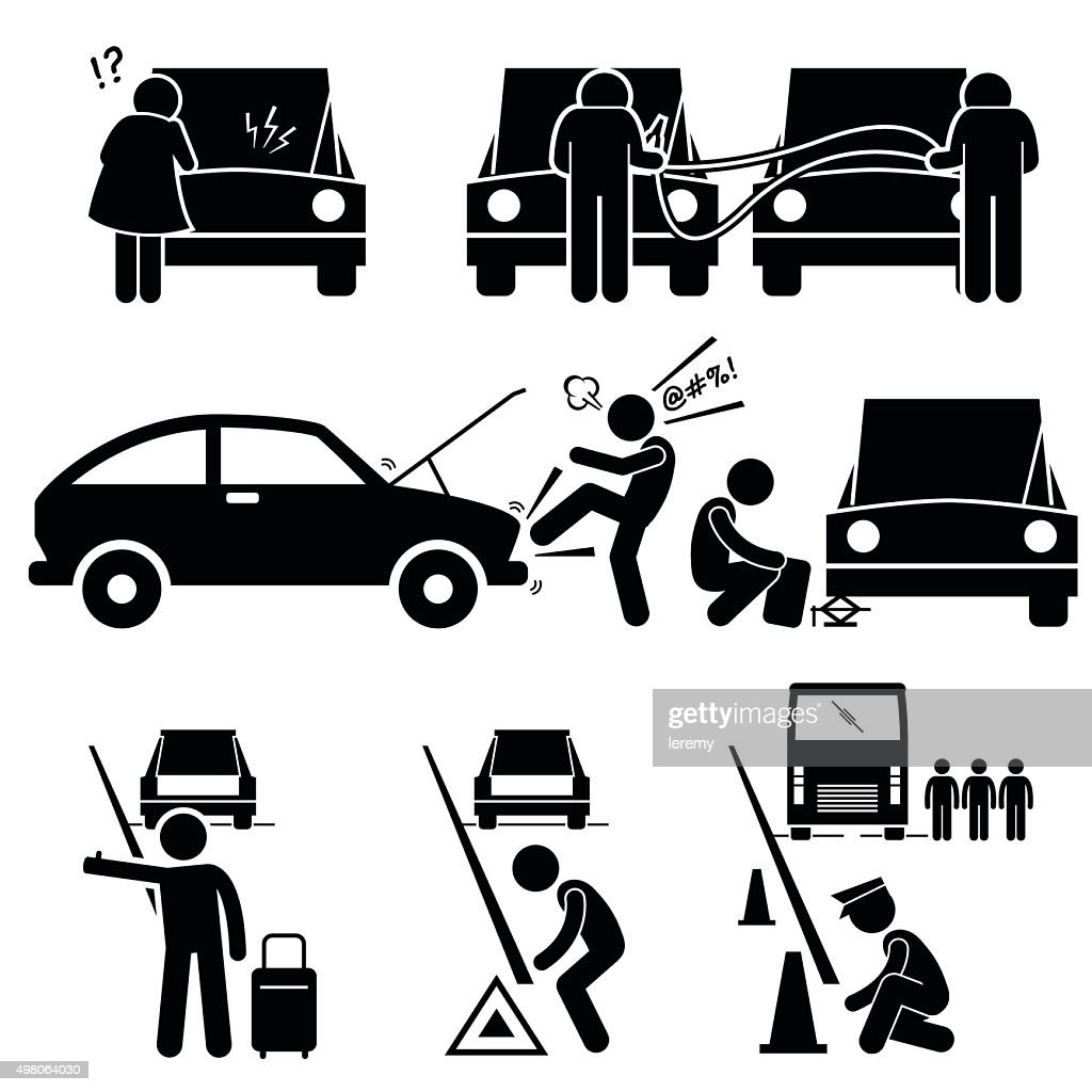 Fixing a Car Breakdown Broke Down Repair at Roadside Pictogram