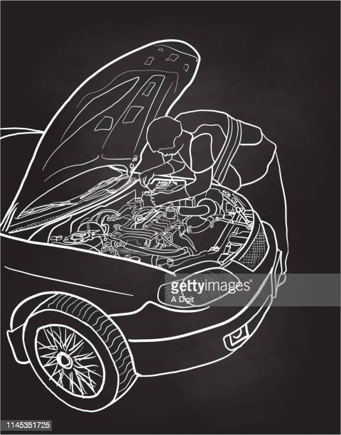 fixing the car chalkboard - vehicle hood stock illustrations, clip art, cartoons, & icons