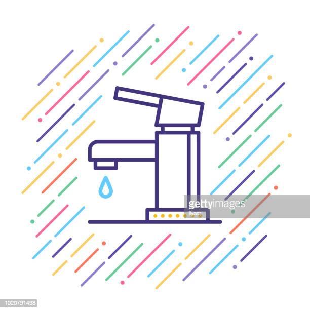 ilustrações de stock, clip art, desenhos animados e ícones de fixture line icon - torneira