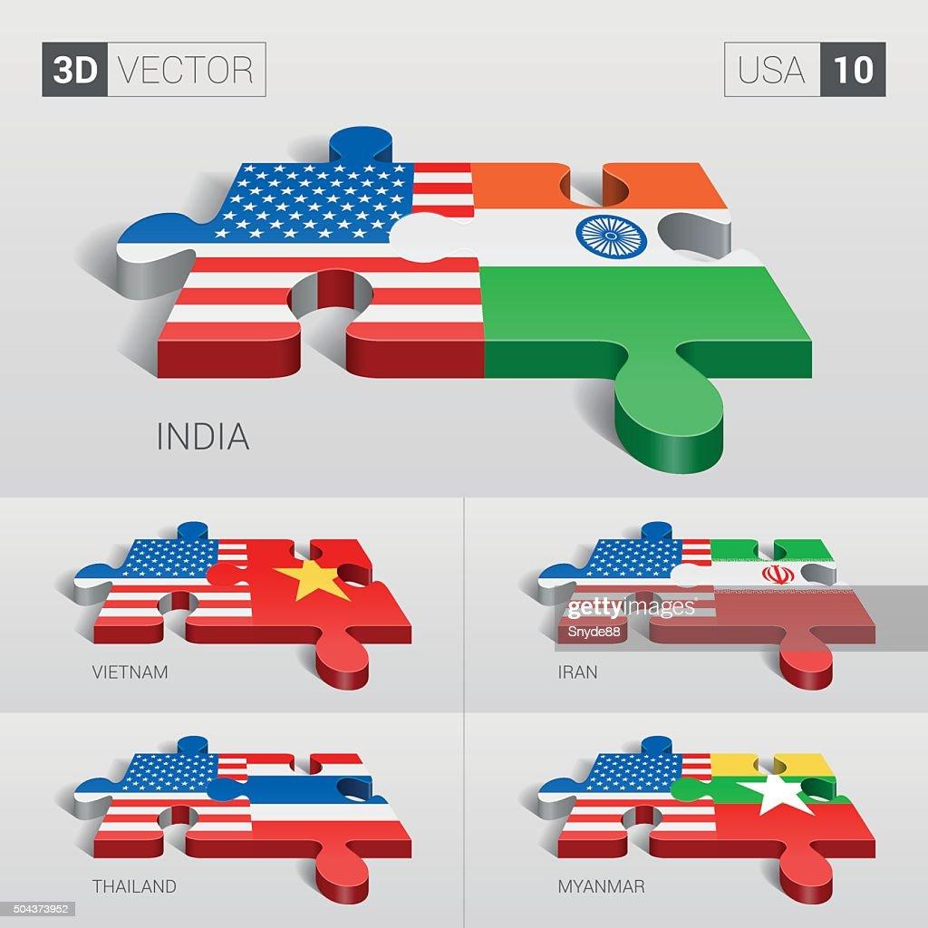 USA Flag. 3d vector puzzle. Set 10.