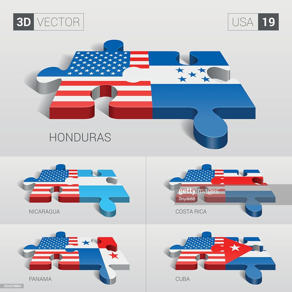 USA Flag. 3d vector puzzle. Set 19.