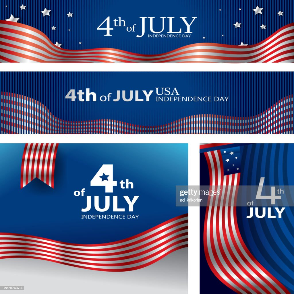 USA Flag, 4th of July, American Independence Day (Vector Art)
