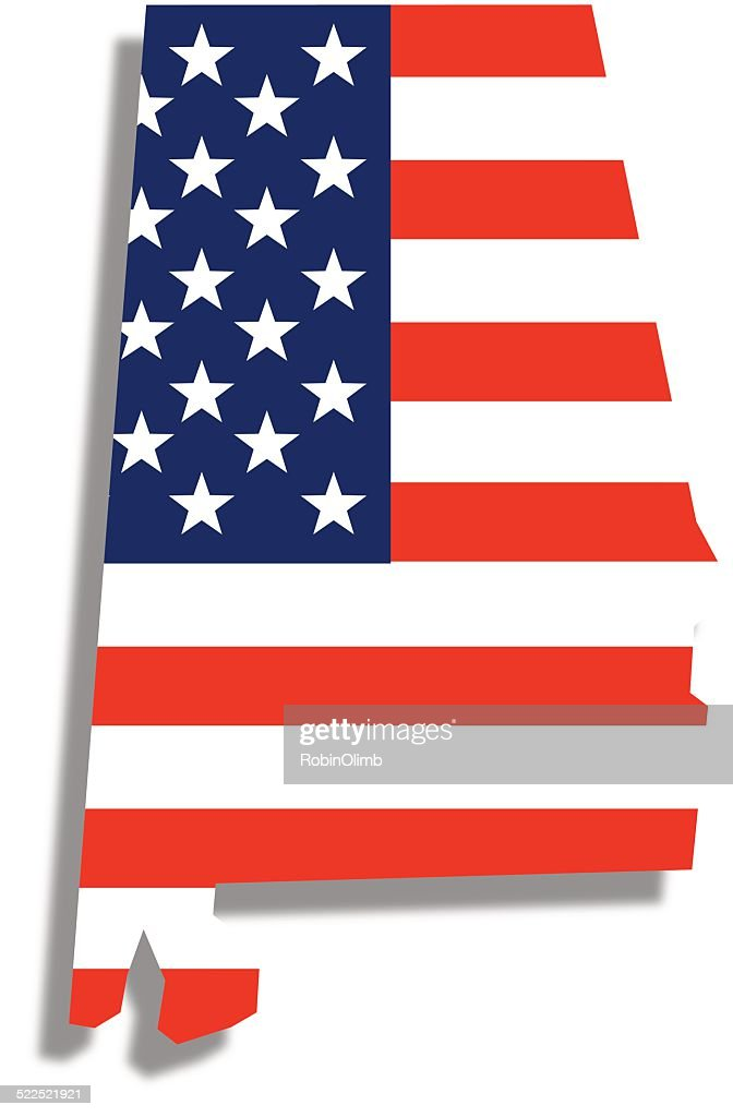 USA Flag Alabama Map