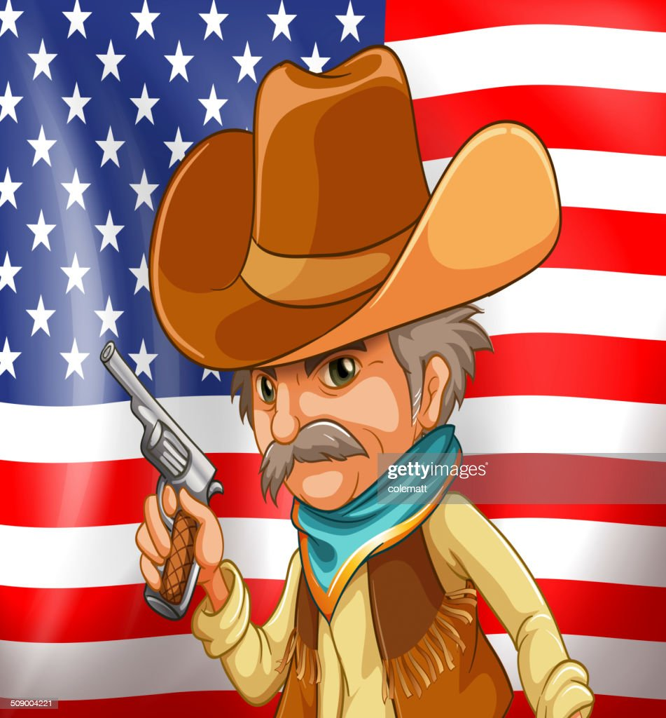 US flag and cowboy