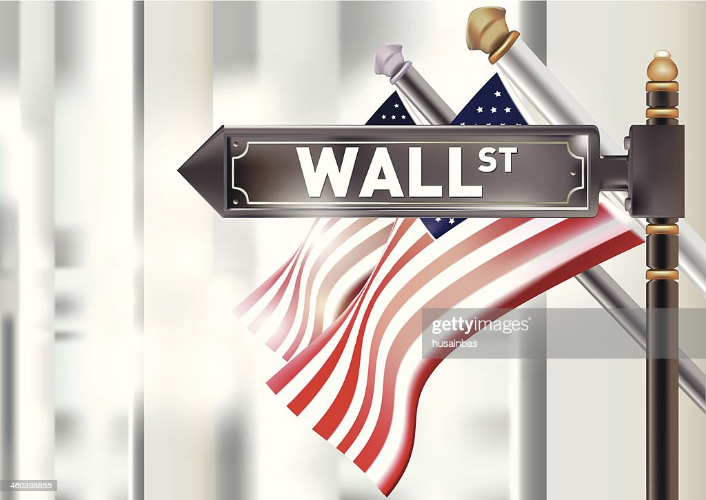 U.S. Flag and the Wall street sign.