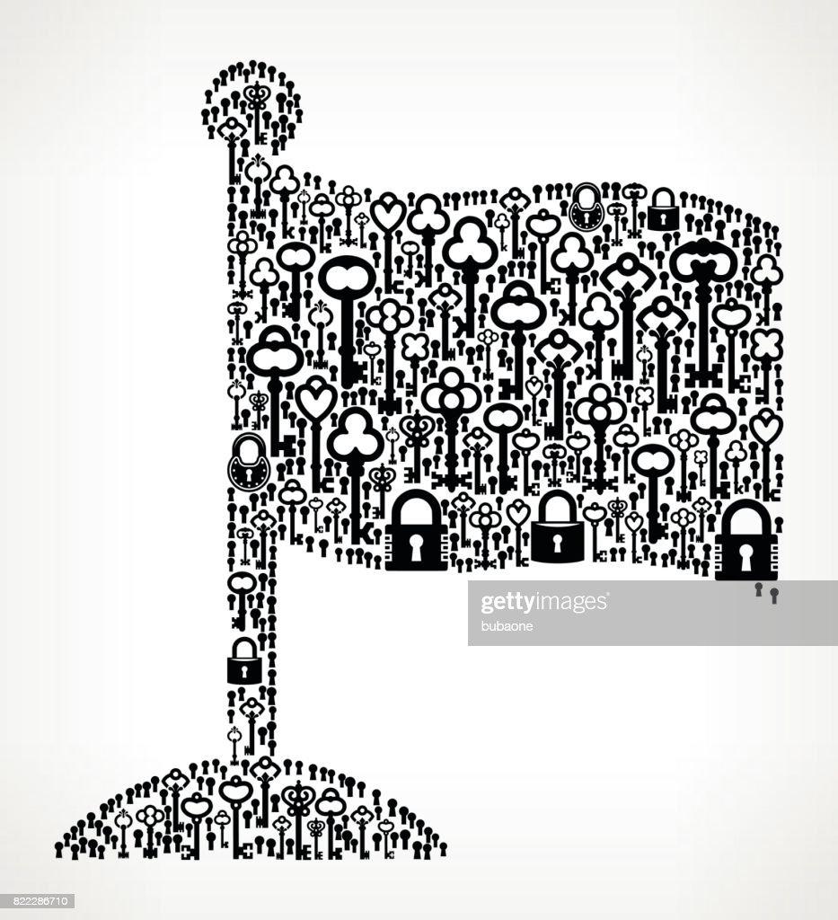 Flag  Antique Keys Black and White Vector Pattern : stock illustration