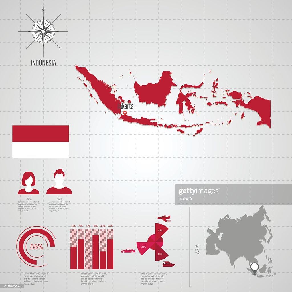 INDONESIA flag Asia World Map.