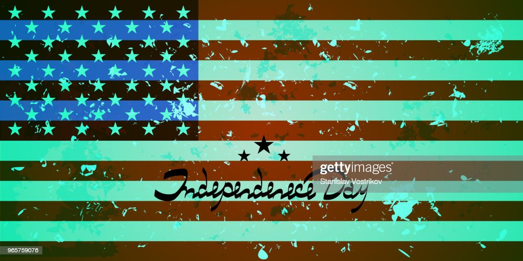 U.S. flag. Background with America flag. Lettering-independence day.