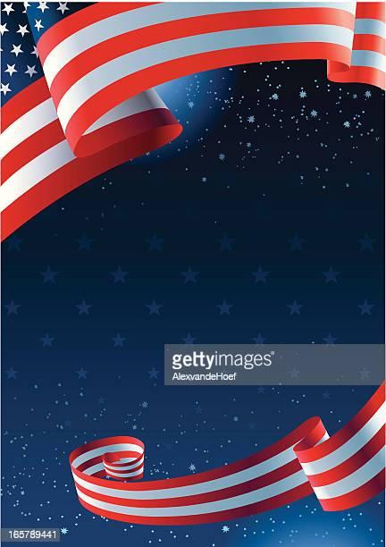 USA flag background with dark blue sky with stars
