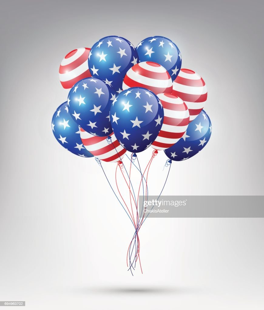 USA flag Balloons, 4th of July, United Stated independence day