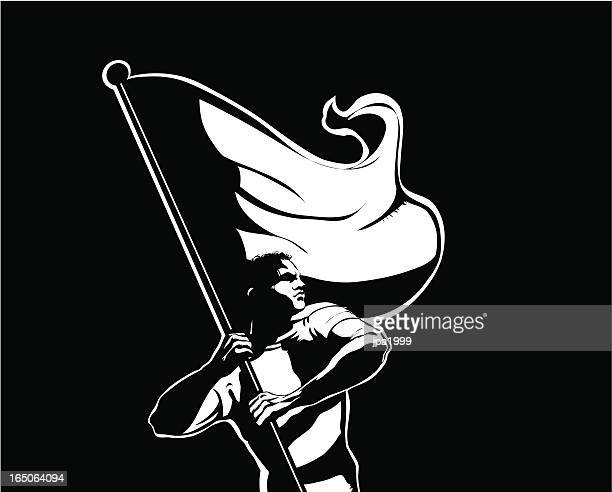 flag bearer - revolution stock illustrations, clip art, cartoons, & icons