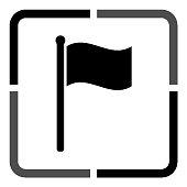 flag - black vector icon