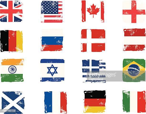 flagge block grunge-symbole - russische flagge stock-grafiken, -clipart, -cartoons und -symbole