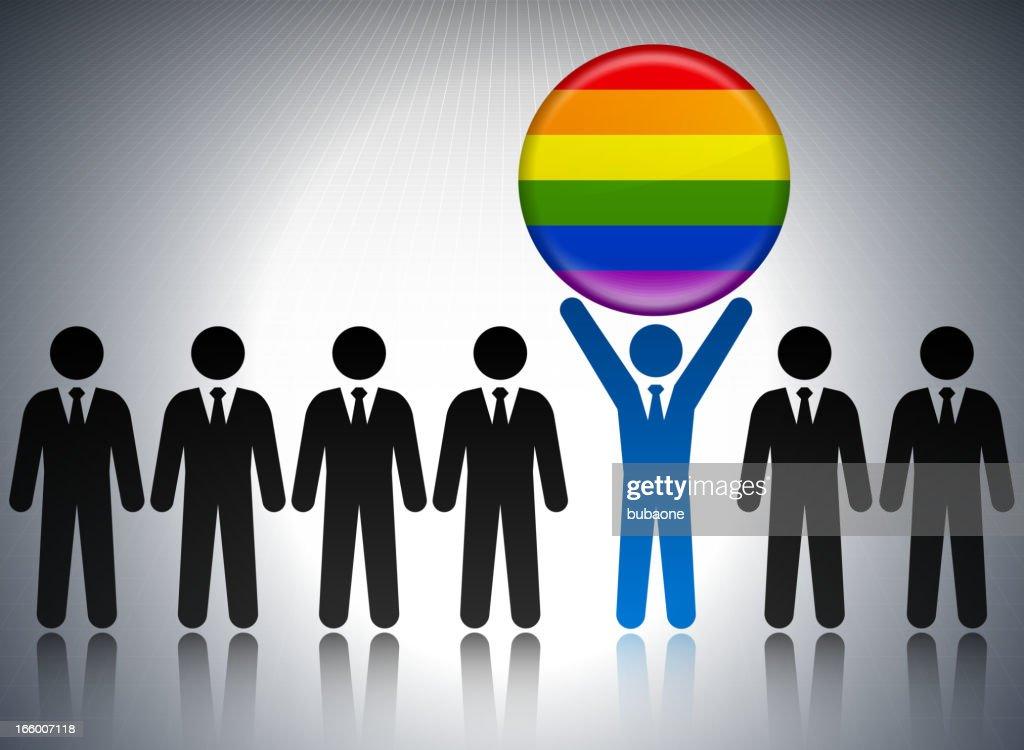LGBT フラグボタン、ビジネスコンセプトのスティックフィギュア : ストックイラストレーション