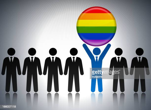 lgbt flag button with business concept stick figures - president stock illustrations, clip art, cartoons, & icons
