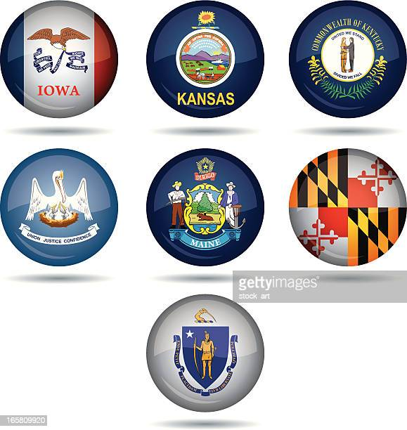 usa flag buttons - maryland stock illustrations, clip art, cartoons, & icons