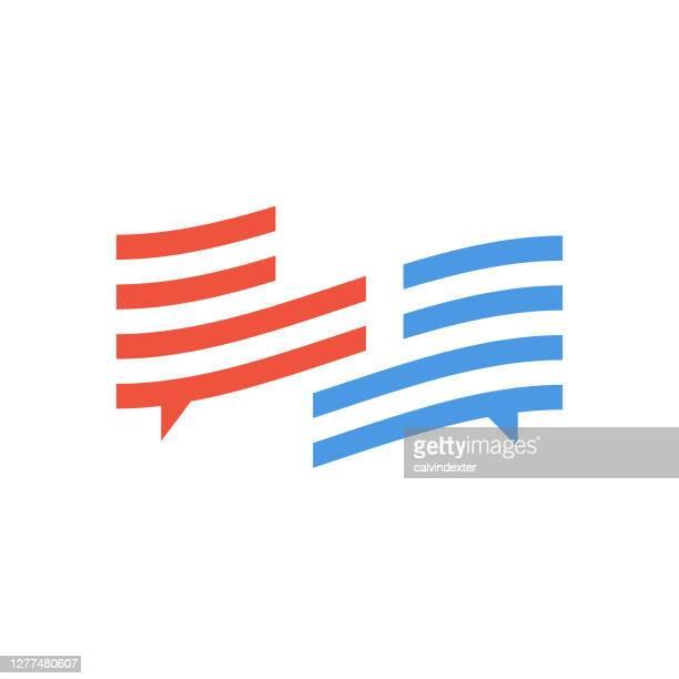 usa flag colors online messaging concept illustration - defeat stock illustrations