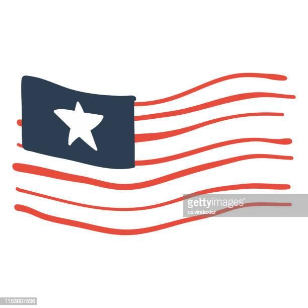 usa flag design hand drawn - bill of rights stock illustrations