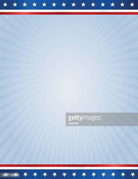 Bandiera USA per il design modello su sfondo di raggi blu