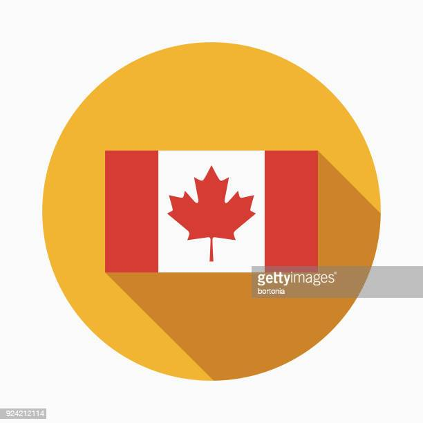 flag flat design canadian icon with side shadow - canada day stock illustrations