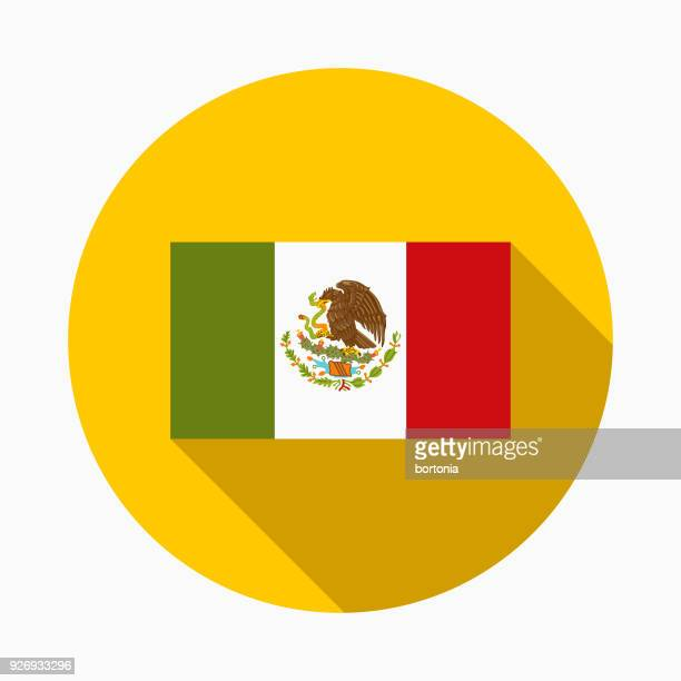 Bandera icono de México de diseño plano con sombra lateral