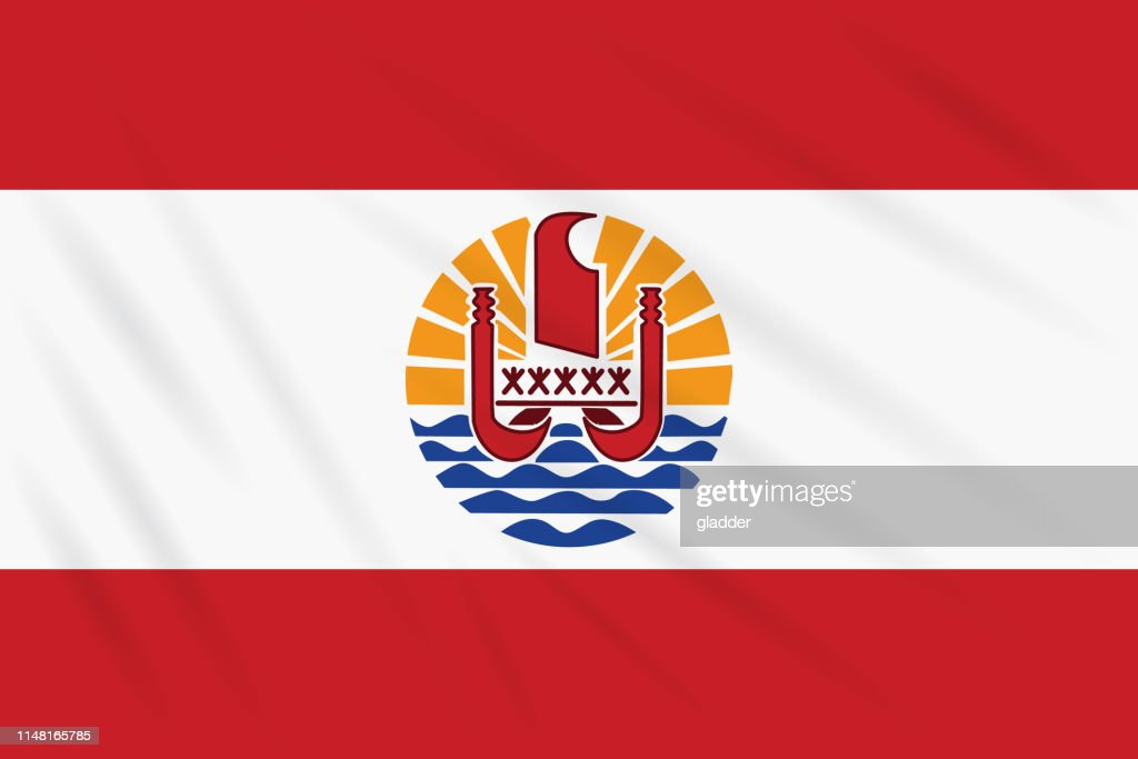 Flag French Polynesia swaying in wind, vector