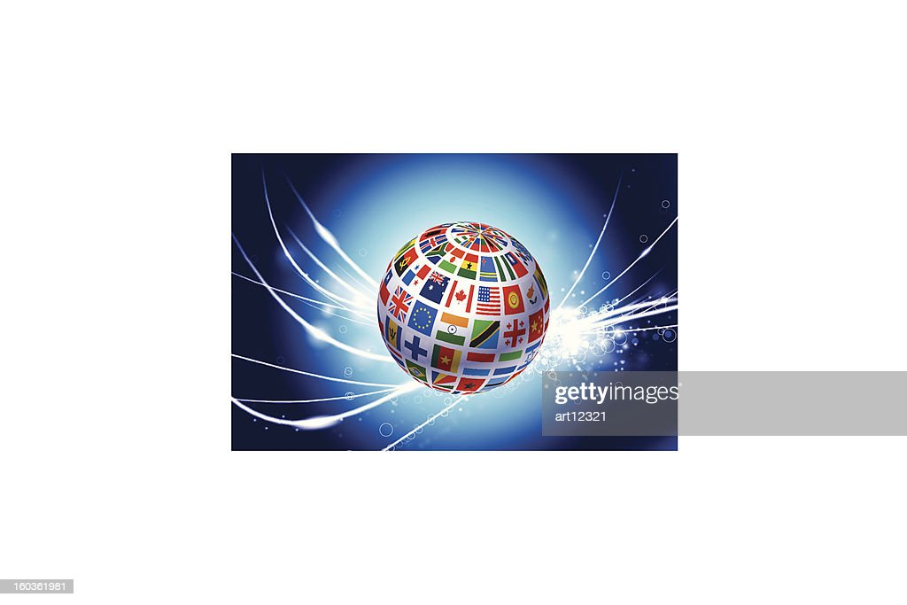 Flag Globe on Abstract Fiber Optic Background