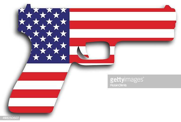 usa flag hand gun - machine gun stock illustrations, clip art, cartoons, & icons
