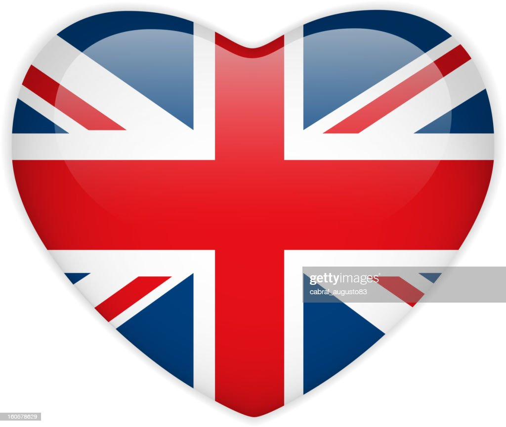 UK Flag Heart Glossy Button