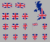 UK flag icon set, British national flag icons, flag of United Kingdom - Union Jack
