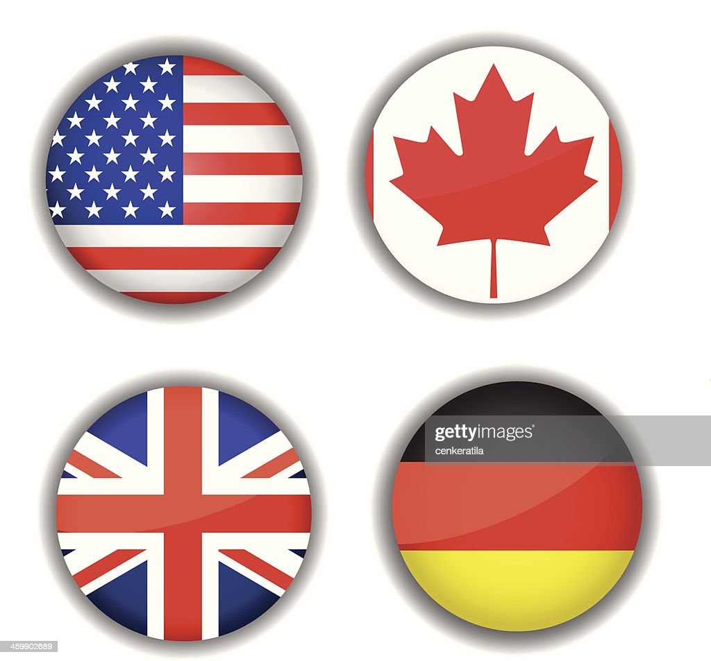 Flag icon set, Canada, British, Germany, USA