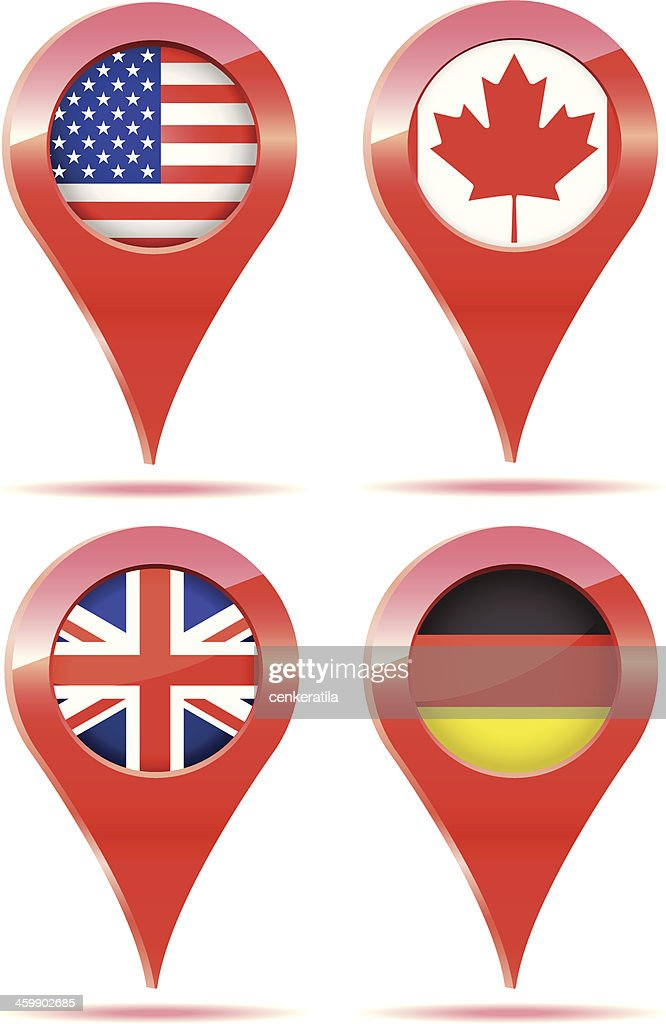 Flag Icons, Canada, British, Germany, USA