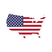 USA flag in a shape of US map silhouette. United States of America symbol. EPS10 vector illustration