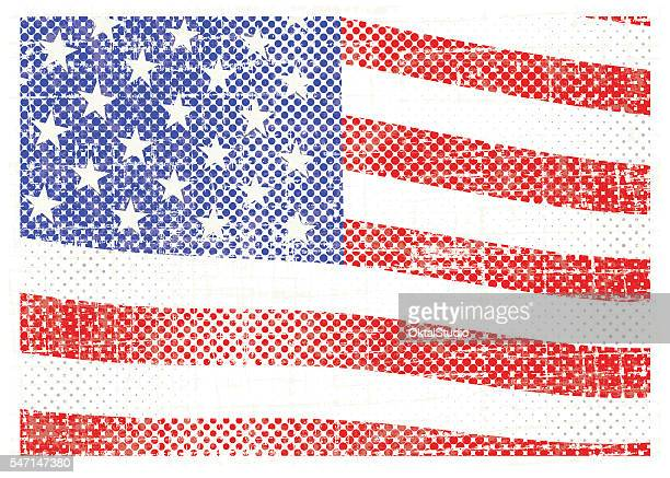 us flag in grungy halftoned style - run down stock illustrations, clip art, cartoons, & icons