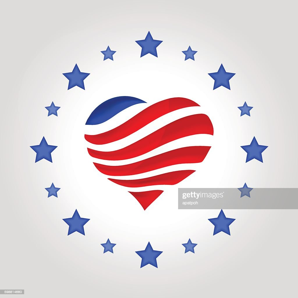 USA flag in heart shape with stars