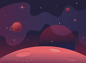 Flag in space.Milky Way.Red planet landscape vector illustration.Background for text.Surface of the planet craters.Space decoration design.Stars and comets on starry background.cosmic banner