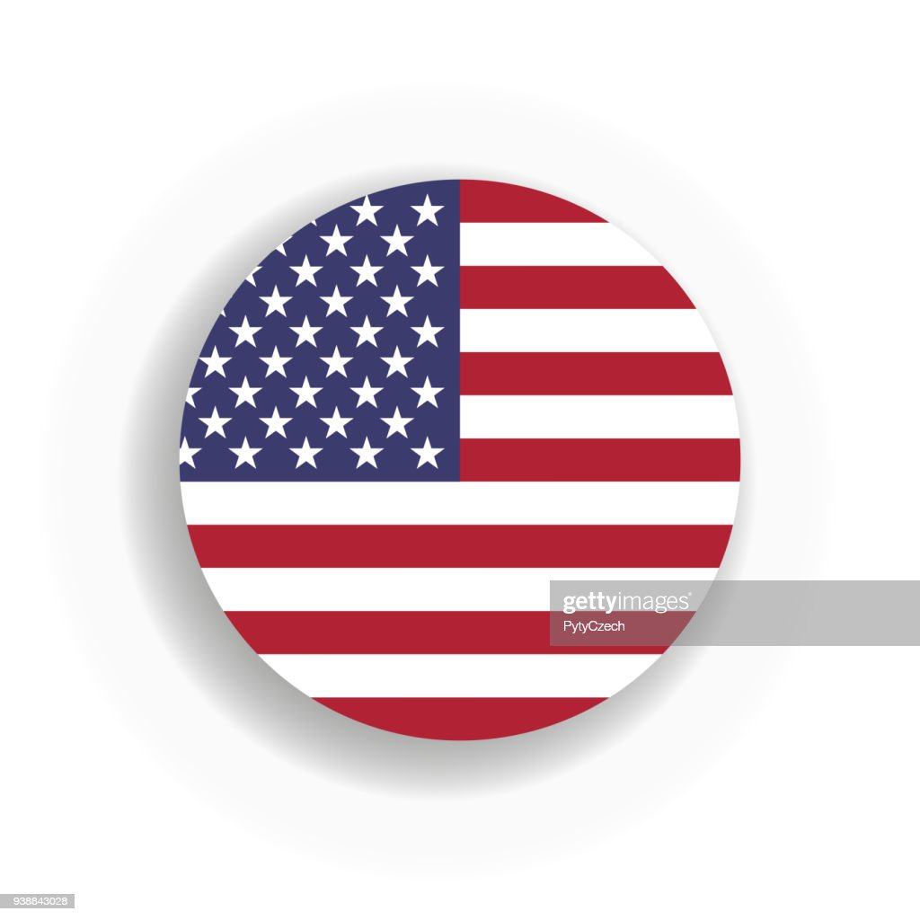 USA flag int he circle with dropped shadow. United States of America. EPS10 vector illustration
