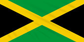 Flag Jamaica swaying in wind, realistic vector.
