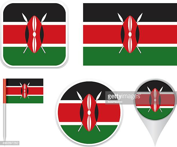 illustrazioni stock, clip art, cartoni animati e icone di tendenza di bandiera del kenia - kenya