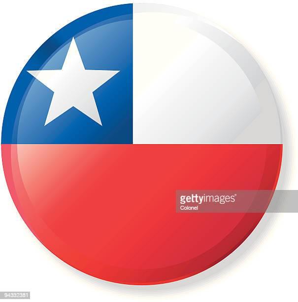 illustrazioni stock, clip art, cartoni animati e icone di tendenza di risvolto pulsante bandiera-cile - bandiera del cile